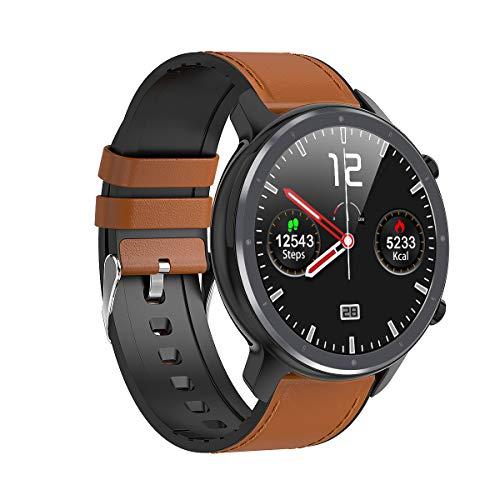 Microwear Bluetooth Smartwatch Herren Fitness Tracker IP68 Wasserdicht Sportuhr Smart Watch für Herren mit Schrittzähler,Stoppuhr,Musiksteuerung, Kompatibel mit Android iOS (Braun)