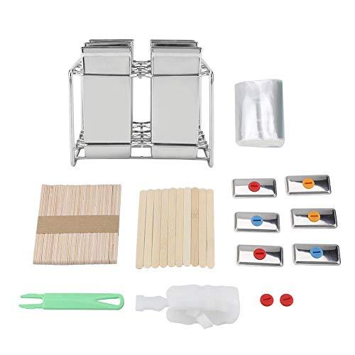 FTVOGUE Stiel Formen Popsicle Formen Set mit Holzstab Halter und Edelstahl Basis für Heim DIY gefrorenes EIS(03)