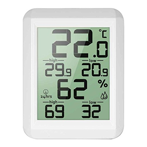 zhibeisai Digital LCD Hygrometer Electronic Temperature Humidity Meter MIN/MAX Records Indoor Weather Station