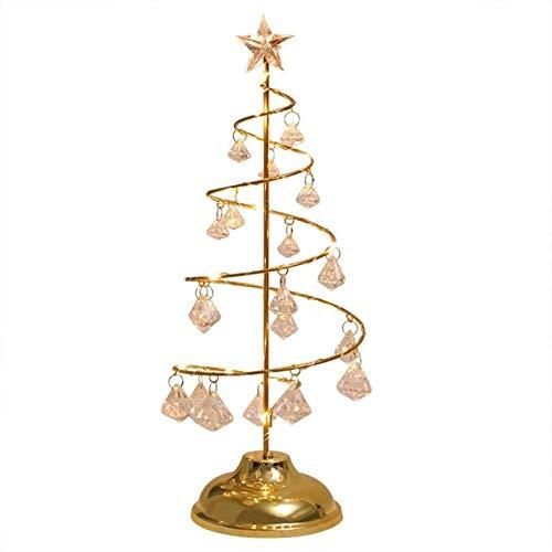 Yiyu Dekorative Leuchten Kristall Weihnachtsbaum Lichter LED Baum Bäumchen Pearl Lampe Lichterbaum Baum Für Weihnachten Hochzeit Partei Innen Mood Light x (Color : Gold)