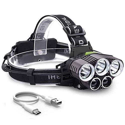 Sooiy Leuchtturm-Lampen-Scheinwerfer Wiederaufladbare,6 Modi Einstellbare Leuchtturm-Lampe Frontale LED-TaschenlampeFür Radfahren Laufen Gehender Hund Lesenacht Stirnlampen,White2xpewhitelight