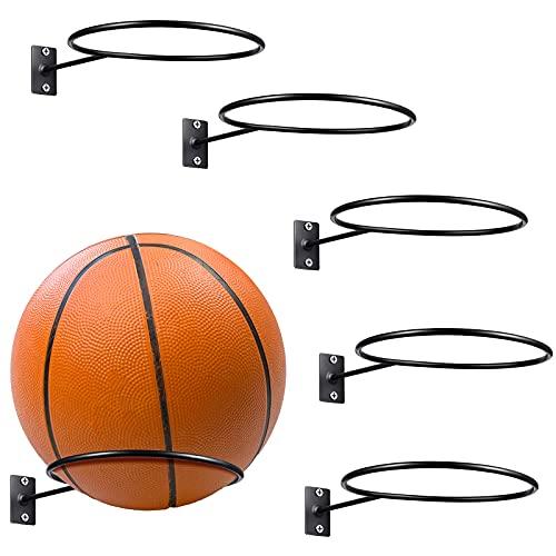 6 Stücke Montiert Ball Wandhalterung Display Ball Aufbewahrung Universal Ball Regal Metall Ball Halter Schwarz Ball Ständer Halter für Basketball Fußball Rugby Volleyball Fußball Display