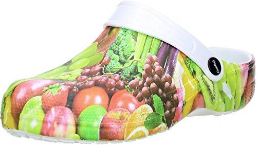 ConWay Damen Clogs Pantoletten Obst/Gemüse Mehrfarbig, Größe:37, Farbe:Mehrfarbig