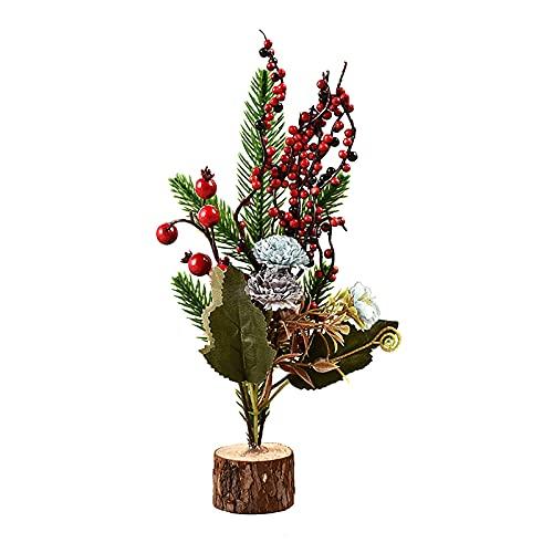 ZXCFTG Árbol de Navidad artificial pequeño, árbol de Navidad de 10 pulgadas con flor azul, rojo, bayas, helecho, hojas verdes, tallo de pino pequeño, base de madera