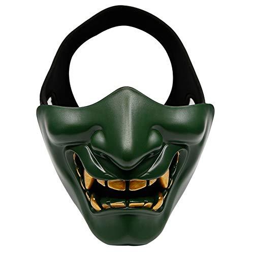 YYH Máscara de Bola de Halloween, Sombreros japoneses for terroristas samuráis, Material de TPU Ajustable (Color : Green)