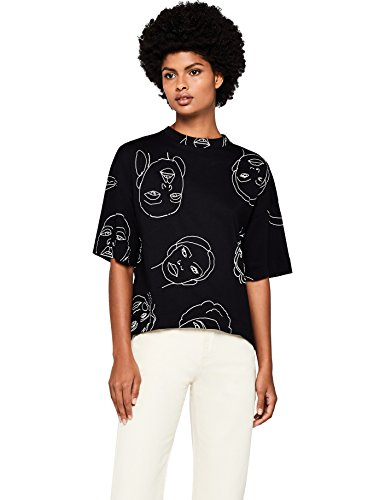 Amazon-Marke: find. Damen T-Shirt Face Illustration, Schwarz (Black), 36, Label: S