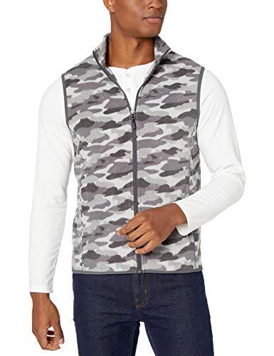 Amazon Essentials Men's Full-Zip Polar Fleece Vest, Grey Camo, Large