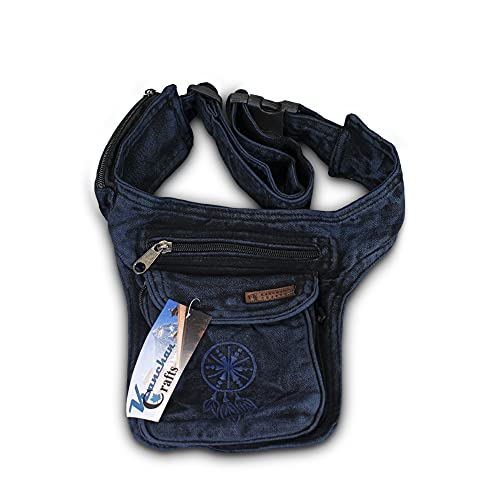Bauchtasche Gürteltasche Hüfttasche Festivaltasche Sidebag Hippie Goa Stone-Washed Traumfänger Schlüsselband Nepal (Blau)
