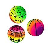 BESPORTBLE 3 pelotas de 16 cm, arcoíris, de PVC, para niños y adultos, para interiores y exteriores, diseño al azar
