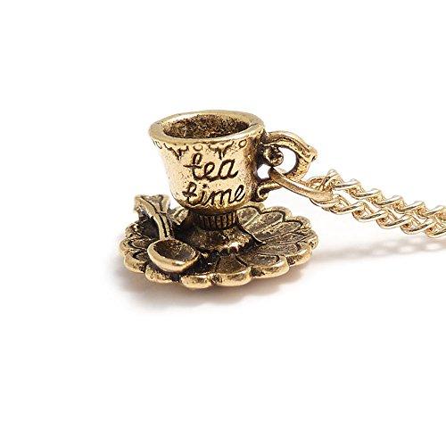 LunarraStar Women Alice in Wonderland Tea Cup Tea Time Charm Necklace Pendant