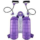 LANHA Mini Stepper Fitness con Bandas de Resistencia y Capacidad de Peso de 100 kg, Swing Stepper Equipo de Ejercicios para ejercitar Las piernas (Blanco, Morado)