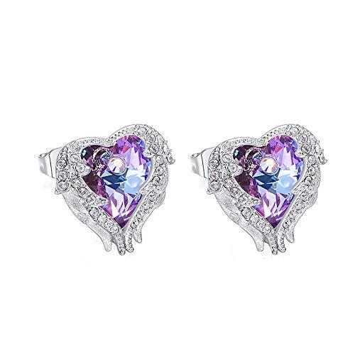 925 Plata de Ley Pendientes para Mujer y Niñas, Azul Cristales De Swarovski con Hipoalergénico Aretes, Hermoso Regalo Caja,Purple