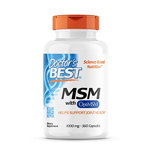 Doctor's Best MSM with OptiMSM, Joint Support, Immune System, Antioxidant and Protein-Building Role, Non-GMO, Gluten Free, 1000 mg, 360 Capsules