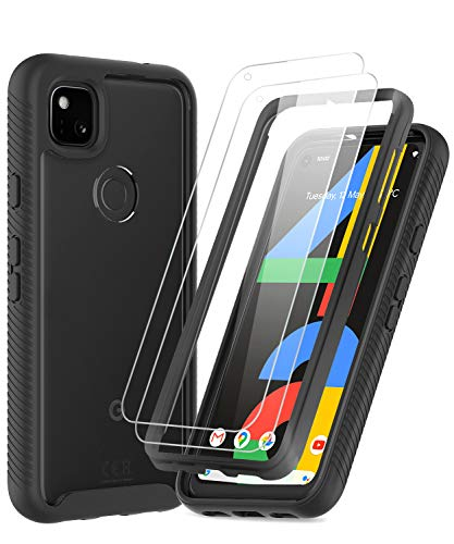 Pixel 4a Case, Google Pixel 4a Case with Tempered Glass Screen Protector [2 Pack], LeYi Full Body Protective Rugged Hybrid Bumper Shockproof Clear Phone Cover Case for Pixel 4a (Not Fit Pixel 4) Black