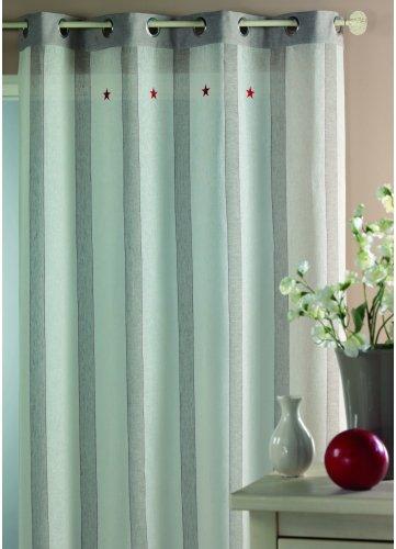Cortina Casa - Visillo lino y algodón grandes rayas bordado estrella Natural: Amazon.es: Hogar