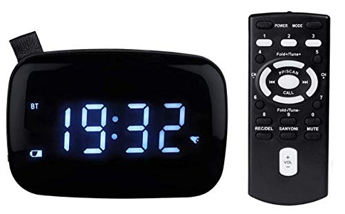 WHITE SQUARE Digital Alarm Clock Radio for Bedroom AM FM Radio Portable Bluetooth Speaker with Remote Control, USB, AUX, Battery Backup, SD Card, MP3 Player Voice Recorder, Bedside LED Clock Blue