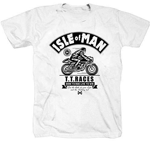 Isle of Man Trophy Racing Racer Moto da corsa Razze Maglietta T-shirt Camicia bianco XXXXL