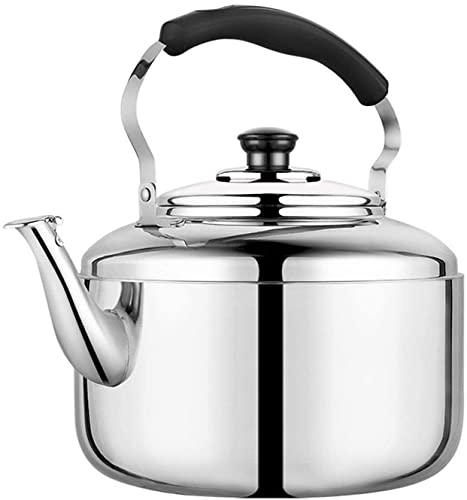 5l / 6l Tetera de té de Silbato de Acero Inoxidable, Mango ergonómico Resistente al Calor, Adecuado for el Restaurante de Cocina for el hogar (Color : Plata, Size : 6L)