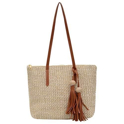 Handgeflochtene Rattan-Tasche für Damen, Umhängetasche, Boho-Stil, Stroh, Schultertasche, Strandtasche, Handtasche, Weiá (gebrochenes weiß), Einheitsgröße
