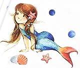Panel Jersey Sealife Mermaid - weiß/blau Eigendruck
