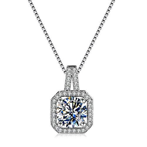 BJGCWY Collar de Piedra de circonita Blanca de Cristal para Mujer, joyería de Boda de Moda Bonita, Gargantilla de Color Plateado, Collares para Mujer
