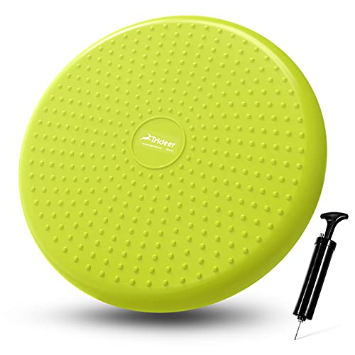 Trideer Inflated Wobble Cushion - Wiggle Seat for Sensory Kids(Multiple Colors), Core Balance Disc (Extra Thick), Flexible Seating for All Age(Office & School & Home) (34cm Avocado)