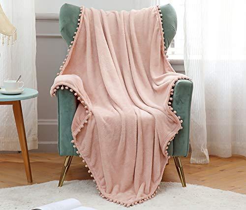 Kuscheldecke Mit Pompoms Flanell Decke Einfarbig Mikrofaser Fleecedecke Flauschig Überwurfdecke für Wohndecke Couchdecke Tagesdecke Sofadecke Bettdecke 130x160cm