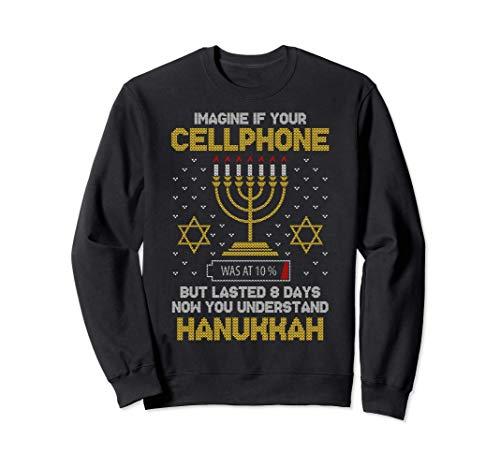 Menorah Cellphone Hanukkah Jewish Ugly Christmas Sweater Sweatshirt