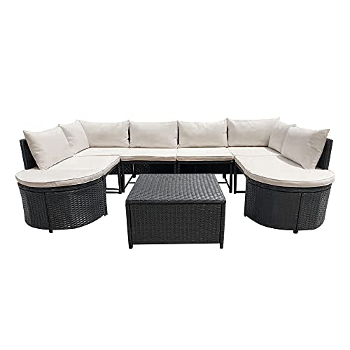 Panana 6 Seater Rattan Furniture Set Wicker Weave Sectional Corner Sofa Lounge Set with Coffee Table Stool Garden Conservatory Outdoor Patio Poolside Black Wicker with Beige Cushions