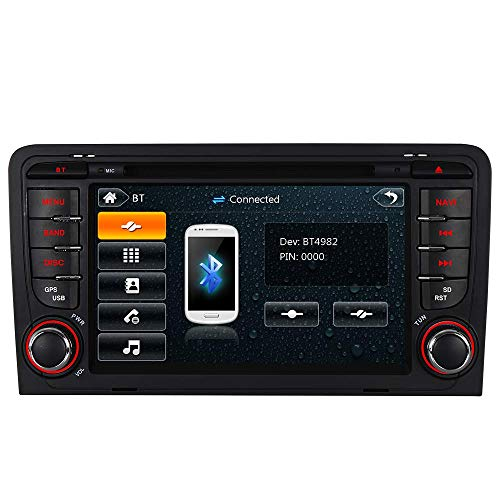 "7\"" AUTORADIO MIT 3G DVD GPS Navigation USB SD Bluetooth Autoradio CD Moniceiver+Bluetooth+ Dual Zone+Subwoofer+DAB+VMCD Für Audi A3 S3 RS3 8P 8V 8PA (Bilaterale Taste)"