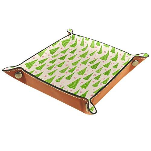 XiangHeFu Bandeja de Cuero Patrón de víspera Verde de árbol de Navidad Almacenamiento Bandeja Organizador Bandeja de Almacenamiento Multifunción de Piel para Relojes,Llaves,Teléfono,Monedas