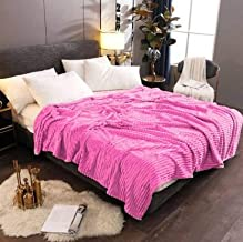 AVI Double Layer Layer Polar Fleece Reversible Blanket-Single-60 x90 - Pink