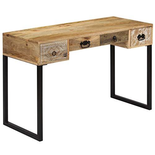 Festnight- Schreibtisch Computertisch Massives Mangoholz Arbeitstisch Holztisch mit Echtleder Dekoration 117 x 50 x 76 cm