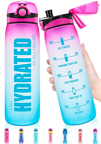 Elvira 32oz Motivational Water Bottle with Time Marker, Removable Fruit Infuser & Protein Agitator, Leakproof BPA Free Wide Mouth, Ensure You Drink Enough Water Daily for Fitness and Outdoor Activity