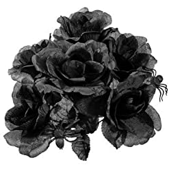 Halloween Black Rose Bouquet with Plastic Spiders! (Includes 2 which makes a bouquet as shown in picture))
