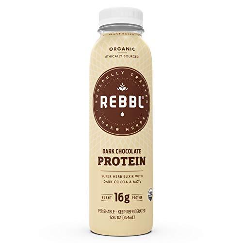 REBBL Super Herb Protein Elixirs   Dark Chocolate Protein 12 Pack   16g Plant Protein   12 Fl Oz   Gluten Free, Organic, Non GMO, Vegan   Ashwagandha, Maca, Reishi, Coconut MCTs