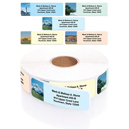 Scenic America Assorted Designer Rolled Address Labels with Elegant Plastic Dispenser