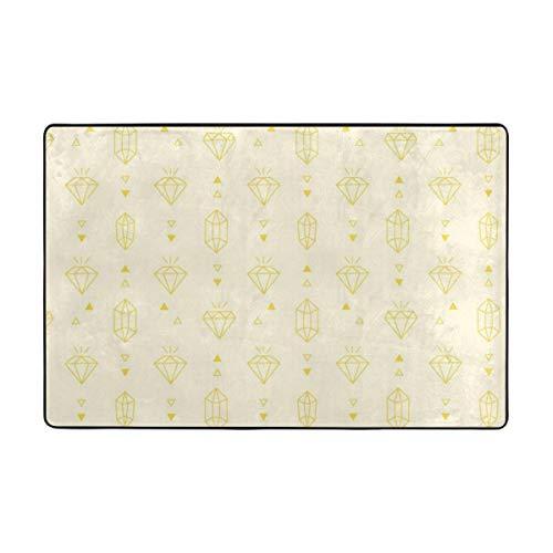 Usting Creative senffarbener Diamant-Teppich, personalisierter Badezimmerteppich, 91,4 x 61 cm - 182,9 x 121,9 cm, Polyesterfaser, weiß, 72