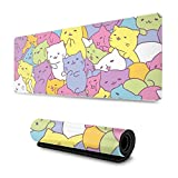 Kawaii Cats Gaming Mouse Pad XL, Extended Large Mouse Mat Desk Pad, Stitched Edges Mousepad, Long Non-Slip Rubber Base Mice Pad, 31.5 X 11.8 Inch