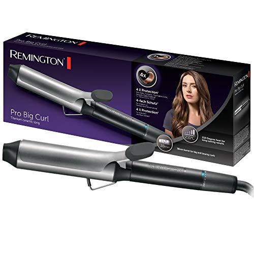 Remington Lockenstab Pro Big Curl CI5538, 38mm für große Locken, 4-facher Schutz, antistatischer Keramik-Turmalin-Beschichtung, 8 Temperatureinstellungen, 30 Sekunden Aufheizzeit, silber/grau