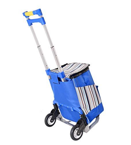 QIANGDA-Handwagen Einkaufstrolley Faltbar Einkaufswagen Rolling Utility Cart Mit Abnehmbarem Rucksack Schwerlast Zum Reisen, 6 Farben, 39x27x106cm (Farbe : B)