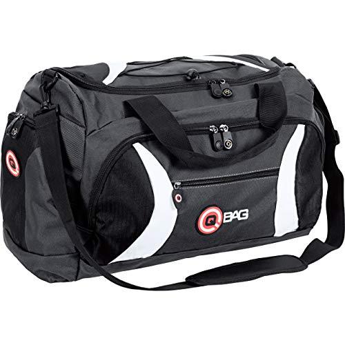 QBag Heck- / Sporttasche, Gepäckträgertasche, Reisetasche, U-Reißverschluss, Nässefach, Außentaschen, Spannnetz, Gummifüße, Netzfach, Schwarz/Grau/Weiß, 40 Liter