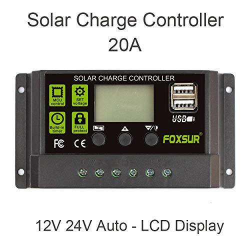 Lorenlli 20A Controladores de Carga Solar automáticos Controladores PWM LCD Dual USB 5V Salida Panel Solar Regulador FV