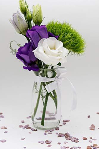 casavetro 12 x kleine Mini Vasen Set Jar-rund-100 inklusiver Band als Meterware Glasfläschchen Flasche Glas klar Deko Blumen-Vase Hochzeit (12 x 100 Weiss) 10 cm hoch