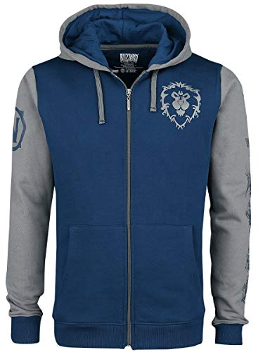 Superplay International World of Warcraft Alliance Pride Männer Kapuzenjacke blau/grau XL 100% Baumwolle Fan-Merch, Gaming