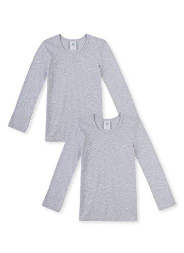 Sanetta Jungen T-Shirt Langarm im Doppelpack aus Bio-Baumwolle - Made in Europe - hellgrau Melange (1646), 164