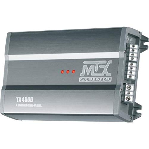 MTX TX480D versterker 12 V 4 kanalen klasse D 4 x 80 W RMS aluminium