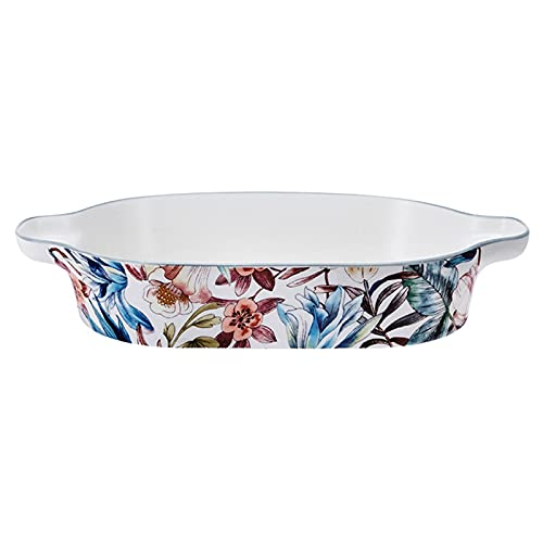 Lasaña Cerámica Bakeware/Baker Set, Piedra de Porcelana Small Oval Au Gratin Sartenes, Plato para Hornear con Mango Doble para Cocina y hogar, 10.75 Pulgadas Fuente para Horno