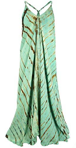 GURU SHOP Batik Maxikleid, Strandkleid, Sommerkleid, Langes Kleid, Damen, Grün, Synthetisch, Size:40, Lange & Midi-Kleider Alternative Bekleidung