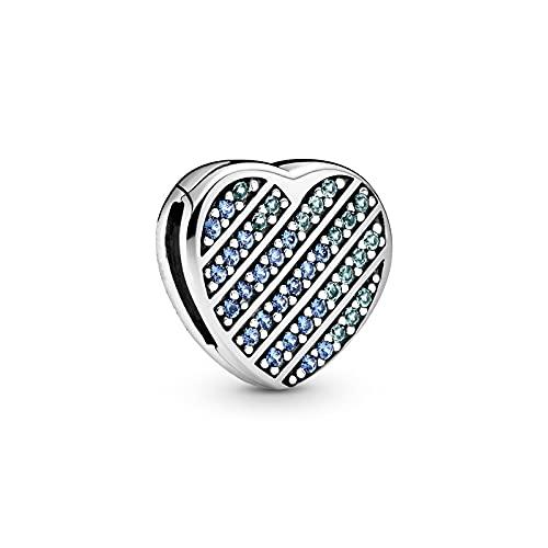 YYFHHK Colgante De Corazón con Pavé Azul De Plata De Ley 925 Adecuado para Pulsera Original, Colgante De Collar, Fabricación De Joyas De Moda para Mujeres DIY